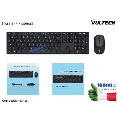 KM-831W Kit Tastiera e Mouse Wireless Slim Vultech KM-831W 1600DPI Regolabili 2,4GHz